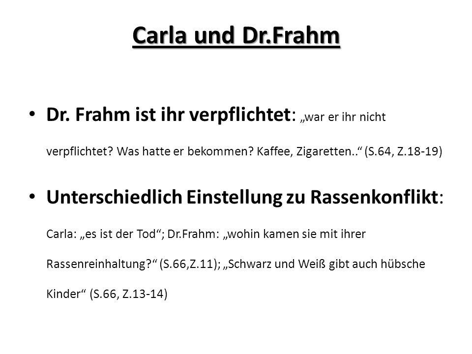 Carla und Dr.Frahm Dr. Frahm ist ihr verpflichtet: war er ihr nicht verpflichtet? Was hatte er bekommen? Kaffee, Zigaretten.. (S.64, Z.18-19) Untersch