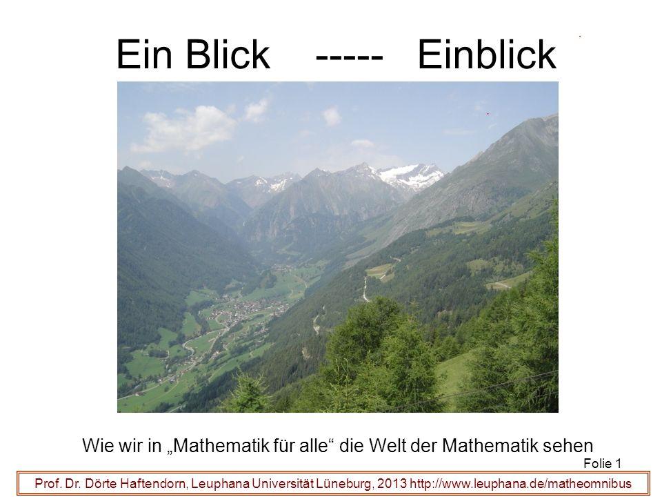 Prof. Dr. Dörte Haftendorn, Leuphana Universität Lüneburg, 2013 http://www.leuphana.de/matheomnibus Ein Blick ----- Einblick Wie wir in Mathematik für