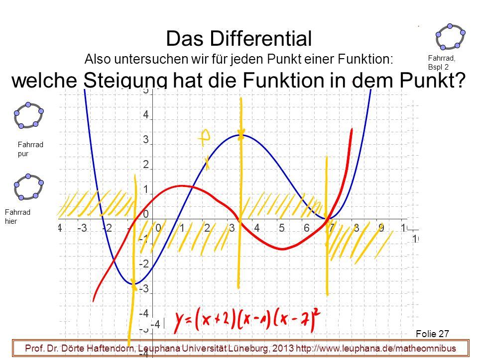 Das Differential Also untersuchen wir für jeden Punkt einer Funktion: welche Steigung hat die Funktion in dem Punkt? Prof. Dr. Dörte Haftendorn, Leuph