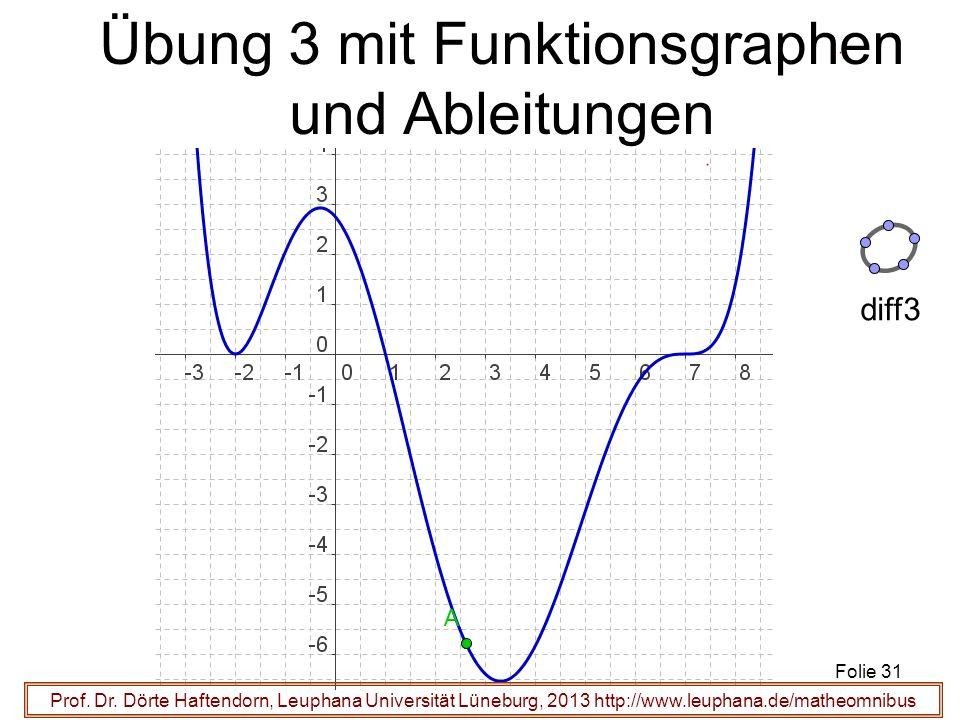 Prof. Dr. Dörte Haftendorn, Leuphana Universität Lüneburg, 2013 http://www.leuphana.de/matheomnibus Übung 3 mit Funktionsgraphen und Ableitungen Folie
