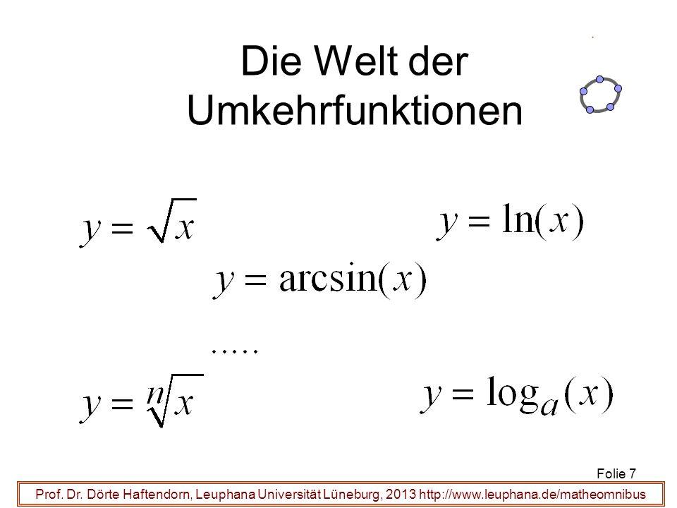 Prof. Dr. Dörte Haftendorn, Leuphana Universität Lüneburg, 2013 http://www.leuphana.de/matheomnibus Die Welt der Umkehrfunktionen Folie 7