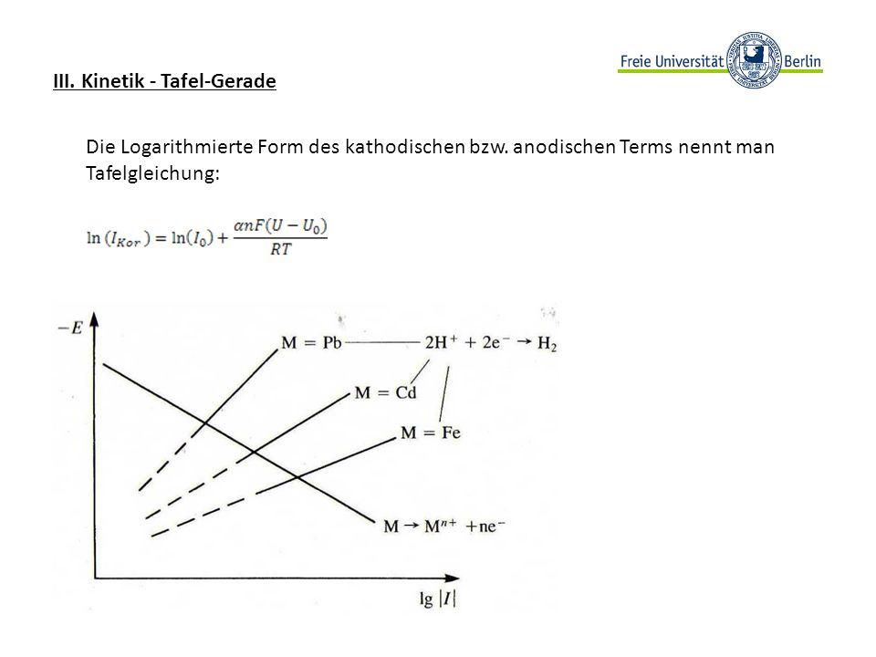 III. Kinetik - Tafel-Gerade Die Logarithmierte Form des kathodischen bzw. anodischen Terms nennt man Tafelgleichung: