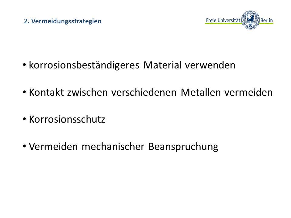 2. Vermeidungsstrategien korrosionsbeständigeres Material verwenden Kontakt zwischen verschiedenen Metallen vermeiden Korrosionsschutz Vermeiden mecha