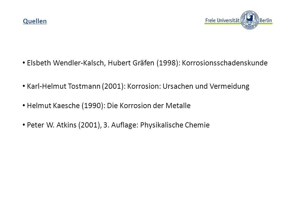 Quellen Elsbeth Wendler-Kalsch, Hubert Gräfen (1998): Korrosionsschadenskunde Karl-Helmut Tostmann (2001): Korrosion: Ursachen und Vermeidung Helmut K