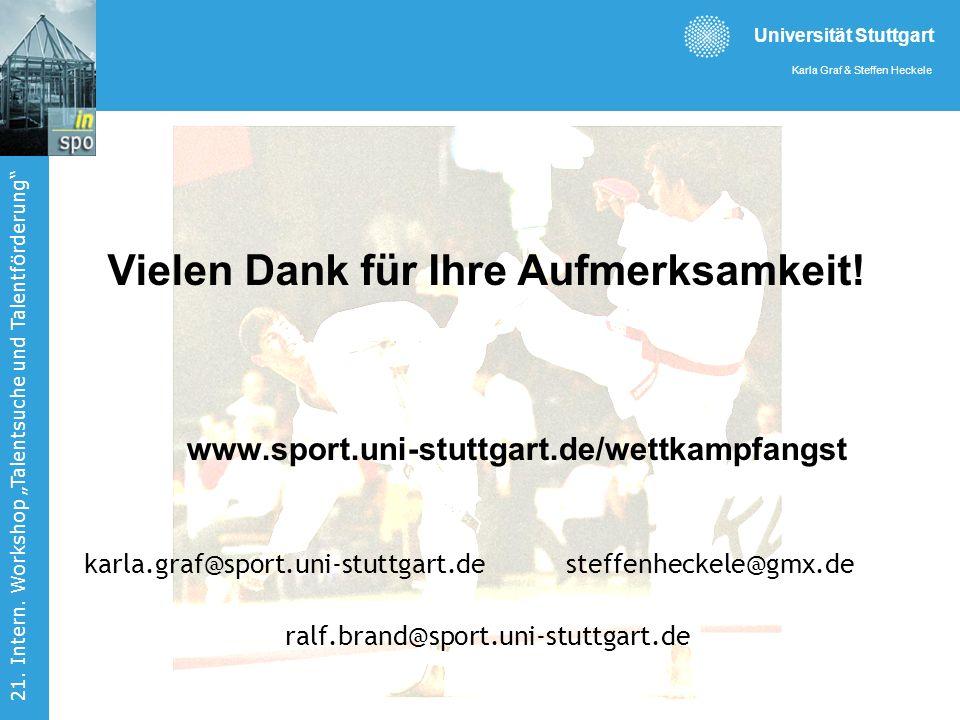 Universität Stuttgart Karla Graf & Steffen Heckele 21. Intern. Workshop Talentsuche und Talentförderung Vielen Dank für Ihre Aufmerksamkeit! www.sport