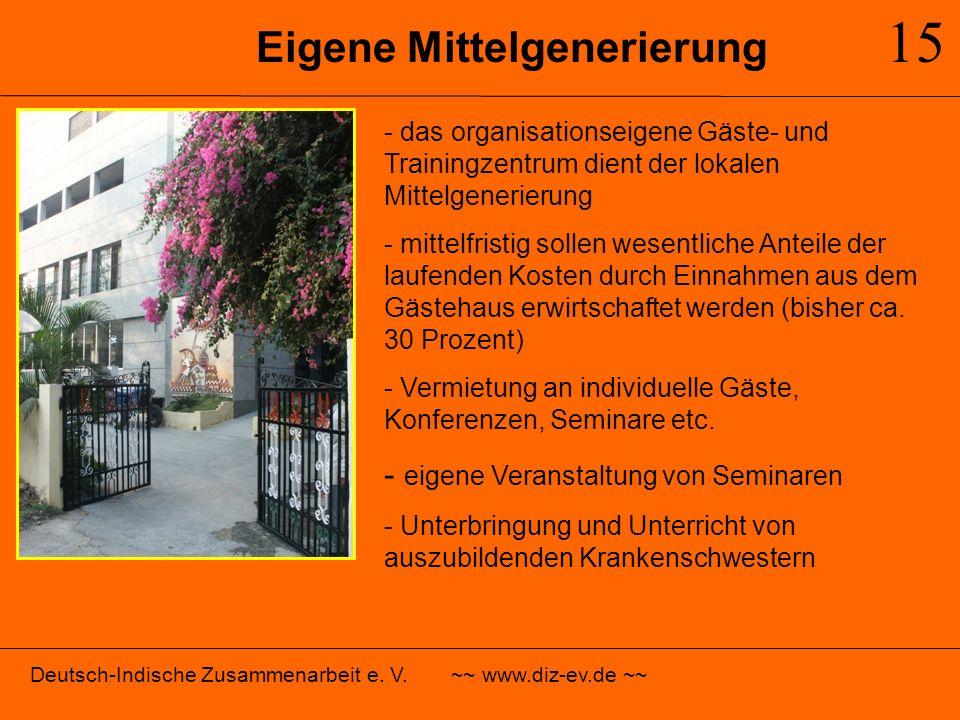 Eigene Mittelgenerierung 15 - das organisationseigene Gäste- und Trainingzentrum dient der lokalen Mittelgenerierung - mittelfristig sollen wesentlich