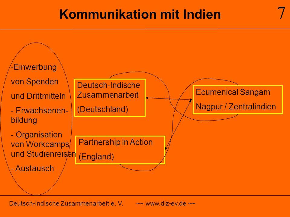 Kommunikation mit Indien 7 Deutsch-Indische Zusammenarbeit e. V. ~~ www.diz-ev.de ~~ Deutsch-Indische Zusammenarbeit (Deutschland) Partnership in Acti