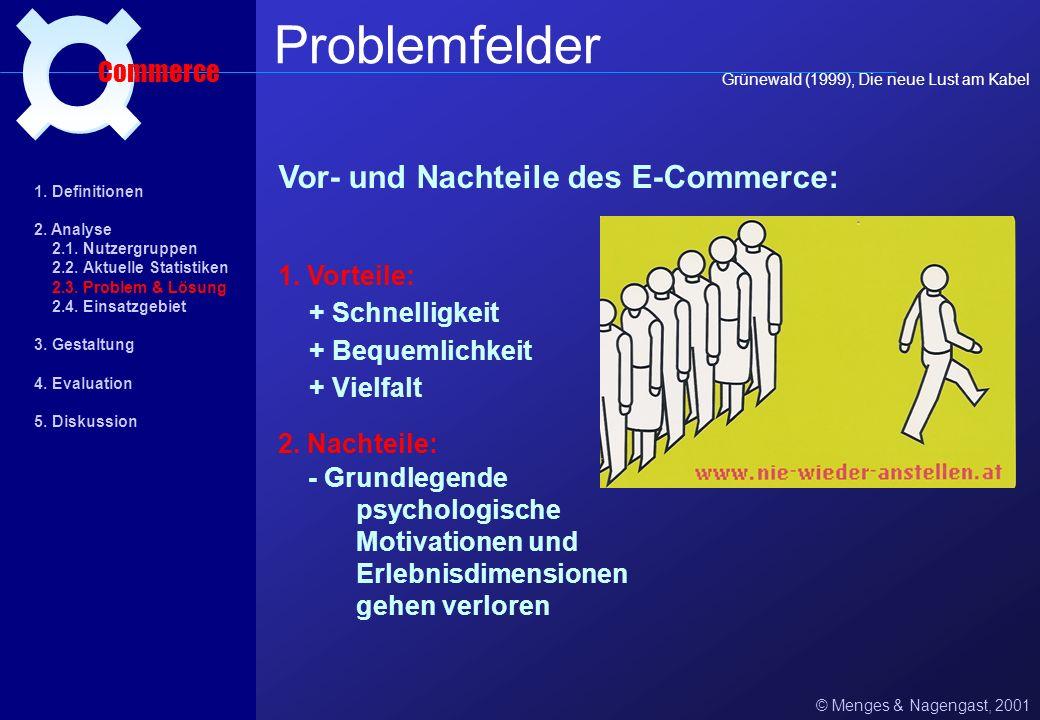 Grünewald (1999): © Menges & Nagengast, 2001 Problemfelder Commerce Als Thema und Vision boomt E-Commerce, als Vertriebsweg ist E-Commerce praktisch n