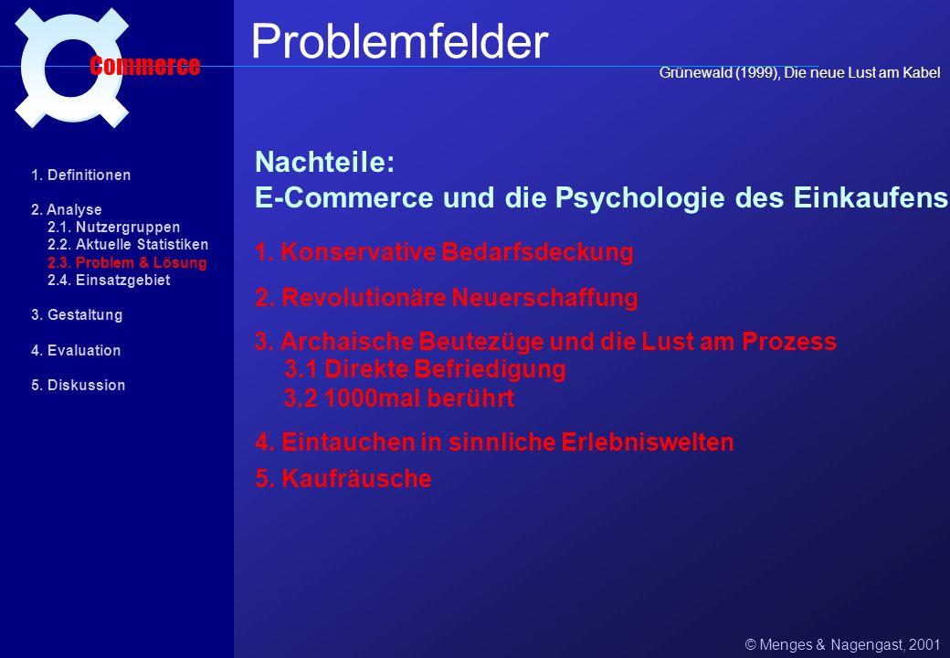 Vor- und Nachteile des E-Commerce: © Menges & Nagengast, 2001 Problemfelder Commerce 1. Vorteile: + Schnelligkeit + Bequemlichkeit + Vielfalt - relati