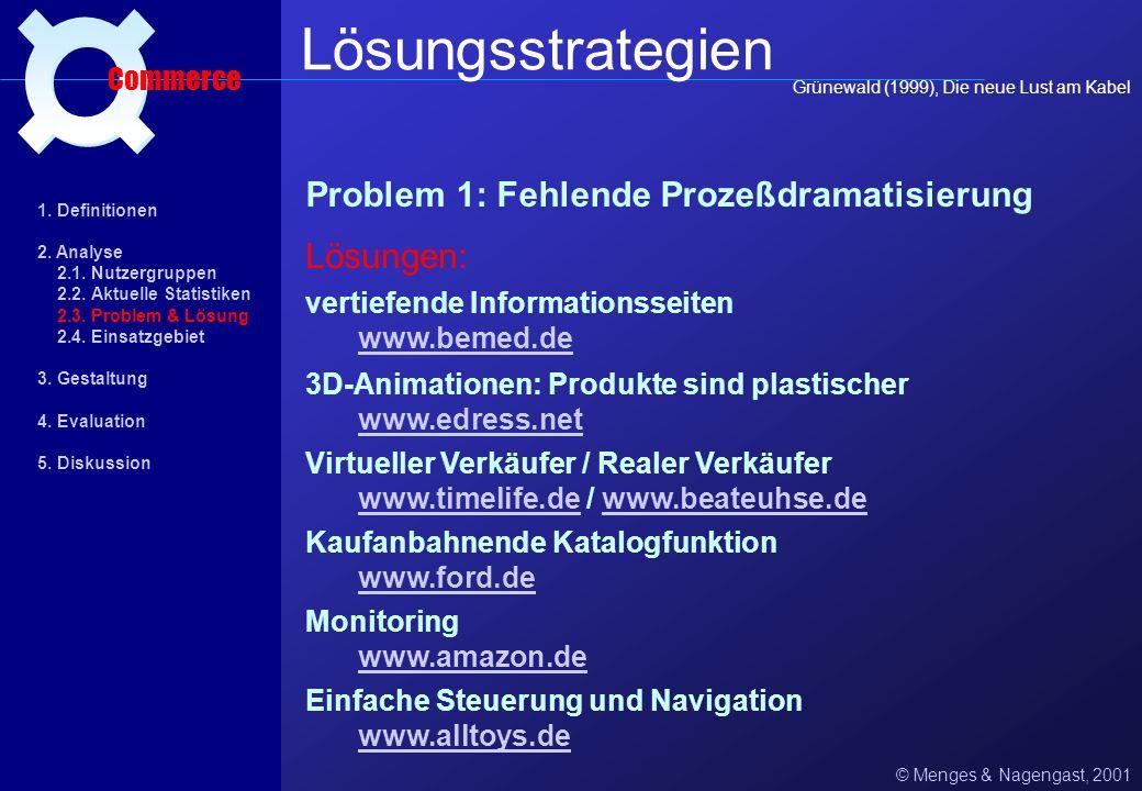 Nachteile: E-Commerce und die Psychologie des Einkaufens © Menges & Nagengast, 2001 Problemfelder Commerce 1. Konservative Bedarfsdeckung 3.1 Direkte