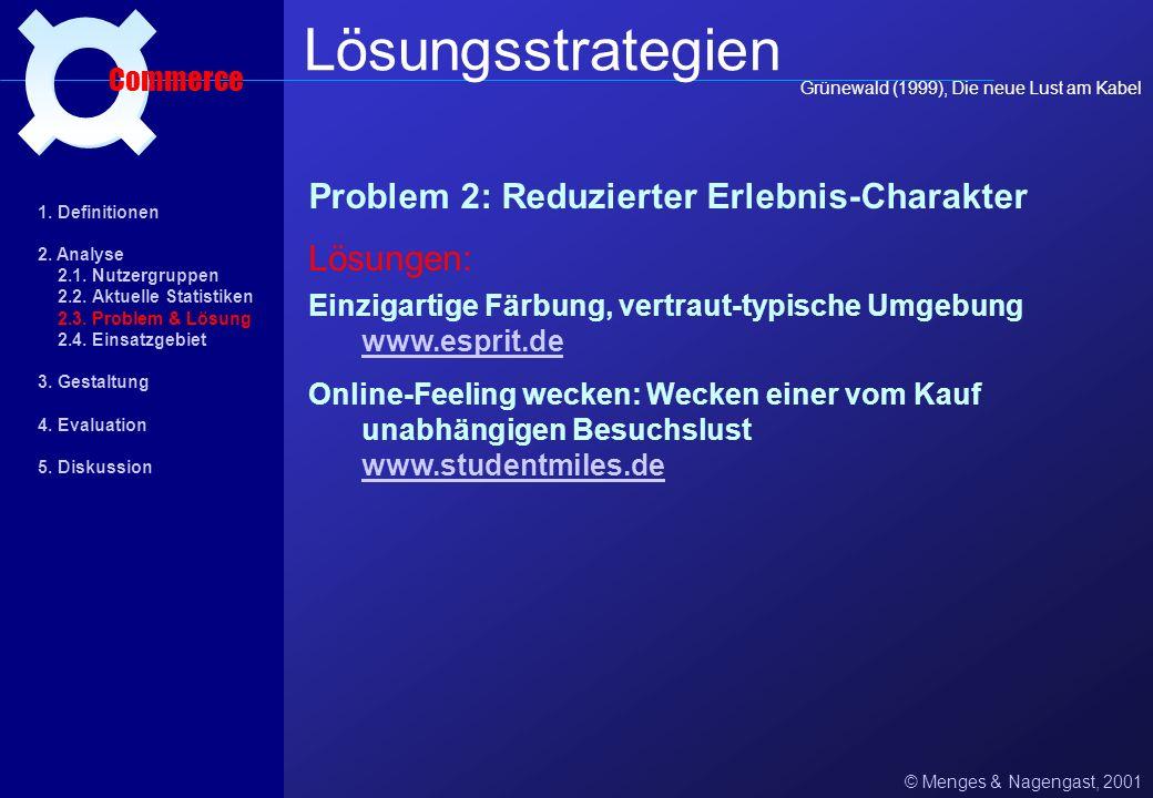 Problem 1: Fehlende Prozeßdramatisierung © Menges & Nagengast, 2001 Lösungsstrategien Commerce vertiefende Informationsseiten www.bemed.de www.bemed.d
