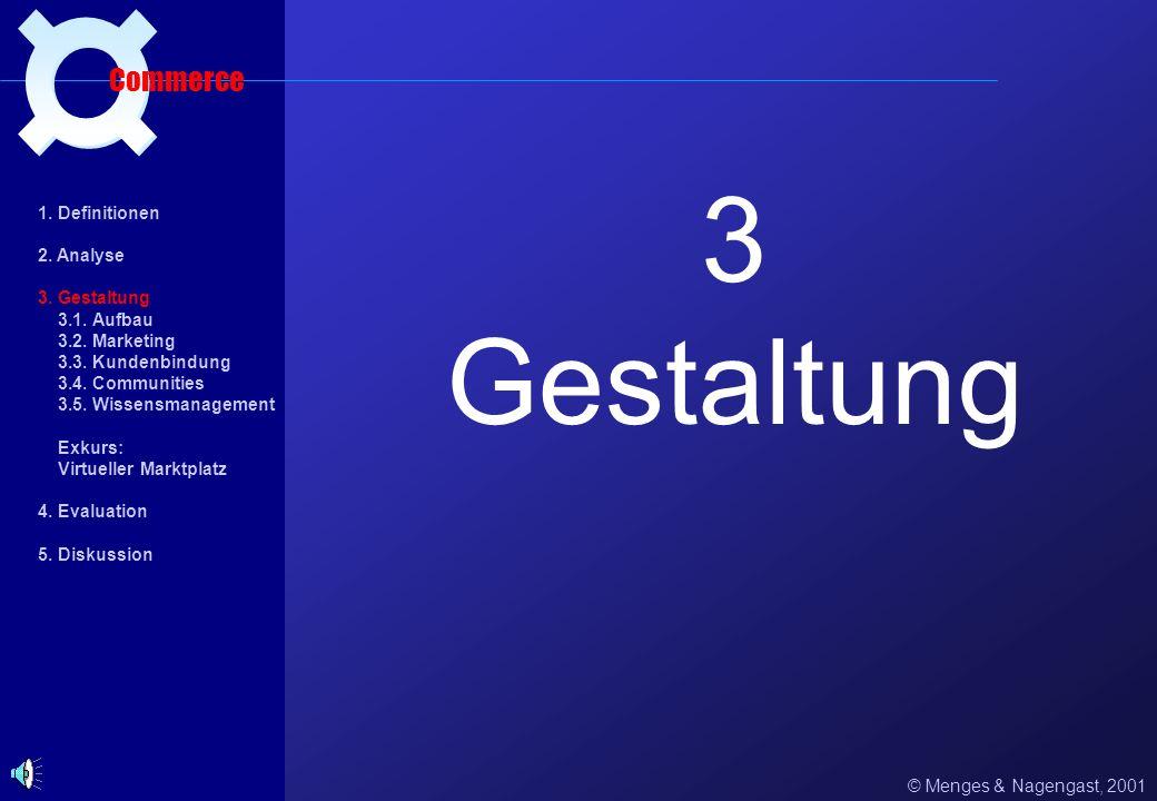 Zukunftspotentiale aus psychologischer Sicht (2) © Menges & Nagengast, 2001 Einsatzgebiet Commerce 1. Definitionen 2. Analyse 2.1. Nutzergruppen 2.2.