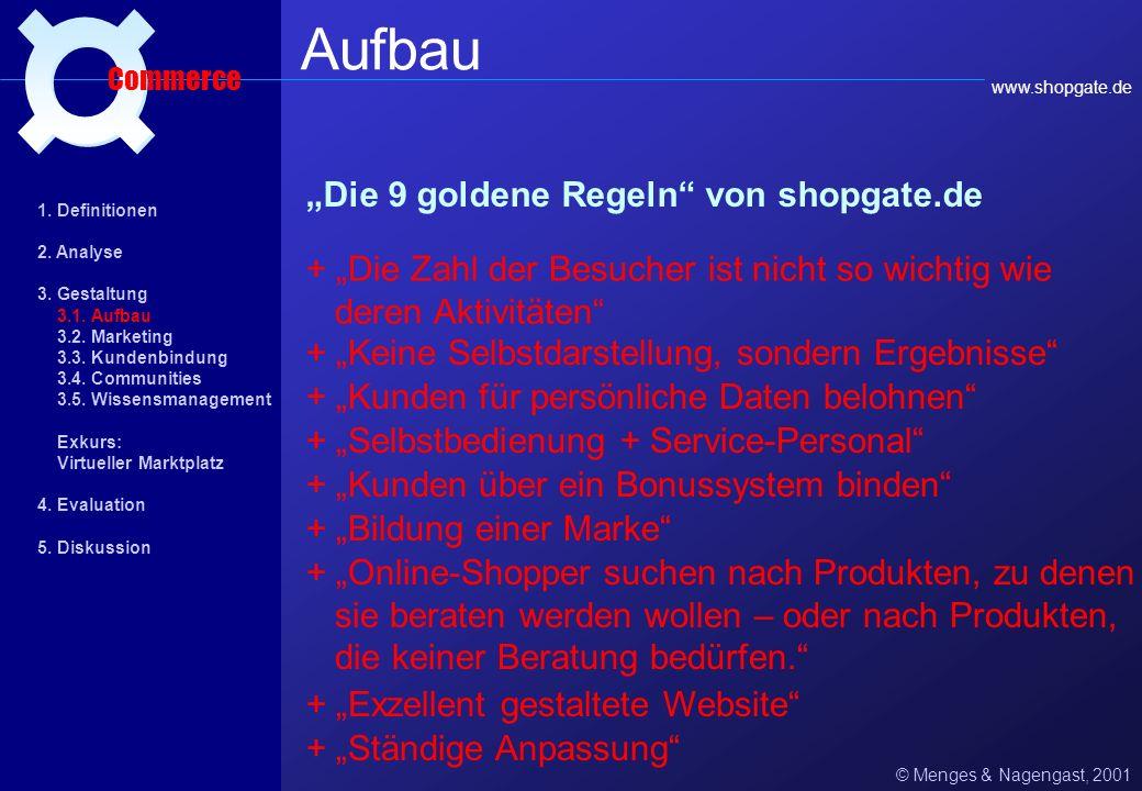 Aspekte einer guten E-Commerce-Website: © Menges & Nagengast, 2001 Aufbau Commerce www.webagency.de + Information an erster Stelle + Kunde als Mittelp