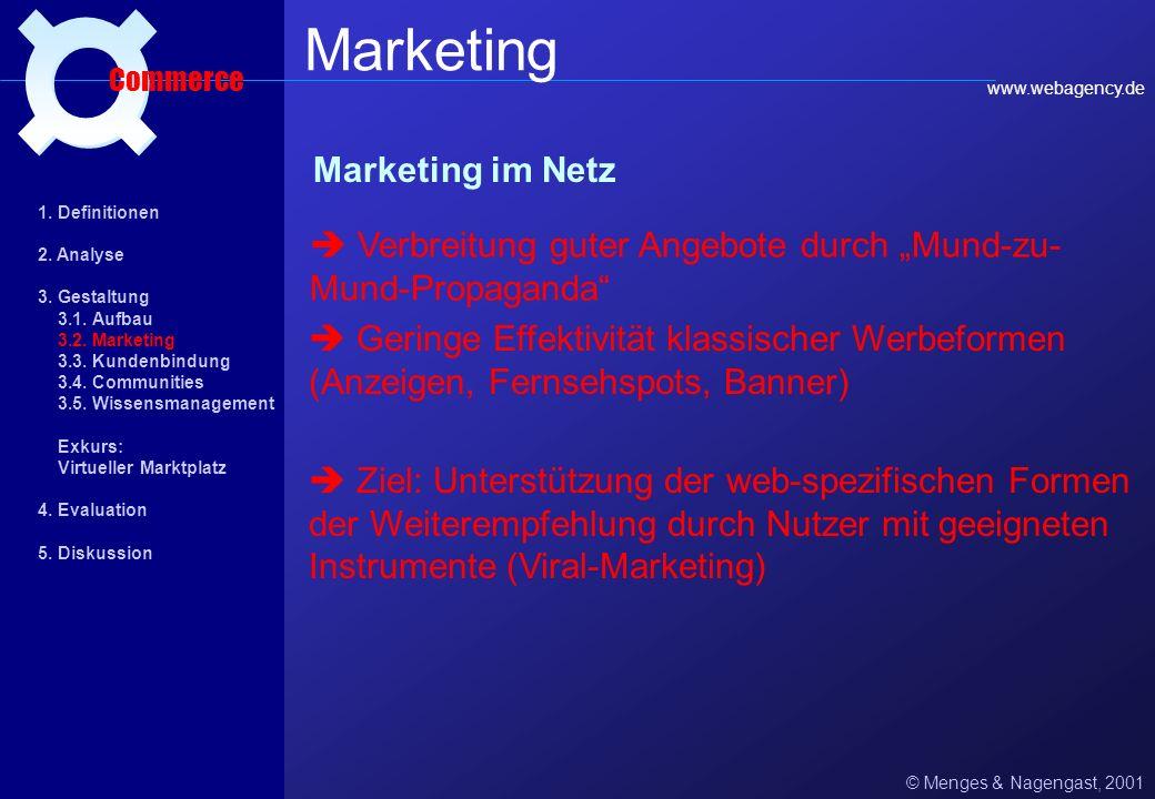 Die 9 goldene Regeln von shopgate.de © Menges & Nagengast, 2001 Aufbau Commerce 1. Definitionen 2. Analyse 3. Gestaltung 3.1. Aufbau 3.2. Marketing 3.