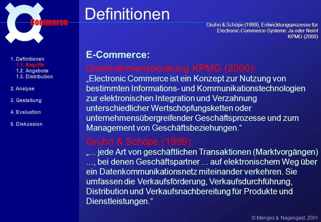 © Menges & Nagengast, 2001 1 Definitionen Commerce 1. Definitionen 1.1. Begriffe 1.2. Angebote 1.3. Distribution 2. Analyse 3. Gestaltung 4. Evaluatio