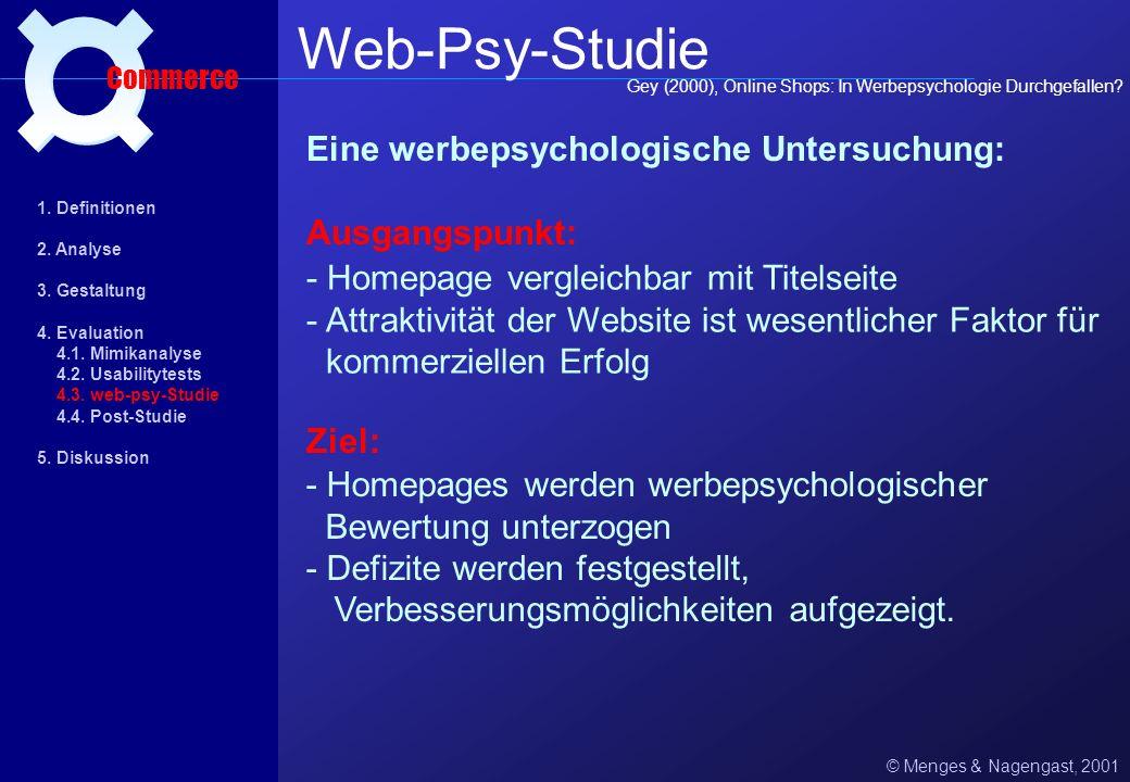 © Menges & Nagengast, 2001 Usability Commerce Usabiliy-Test www.webagency.de = qualitatives Forschungsinstrument zum Aufzeigen von Design-Schwachstell