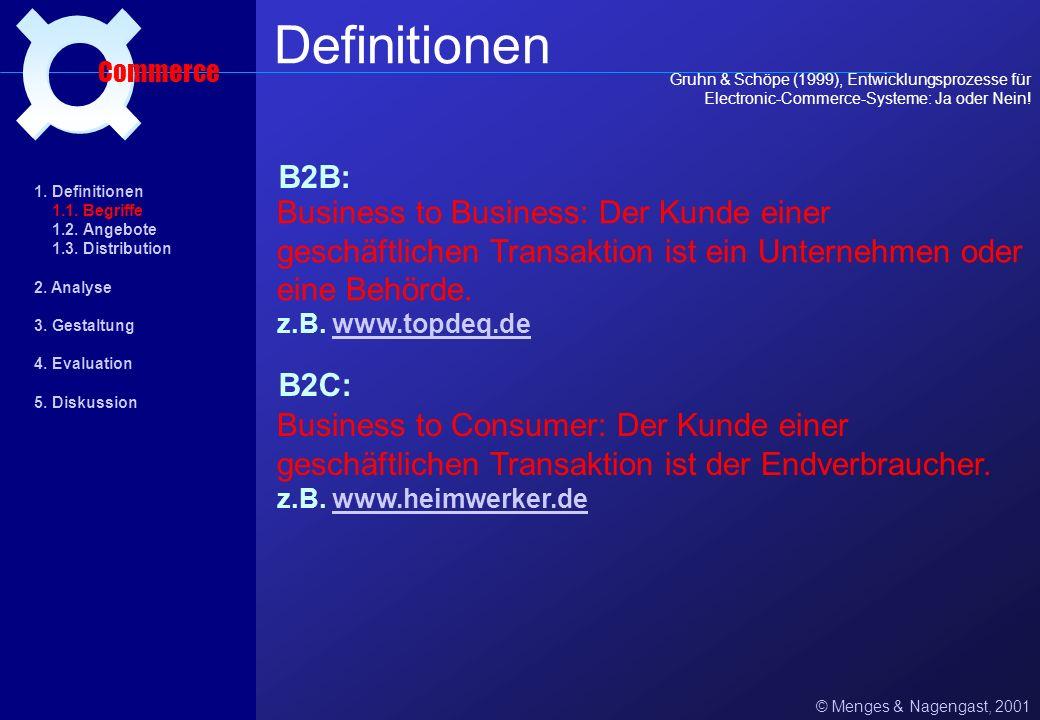 B2B: © Menges & Nagengast, 2001 Definitionen Commerce B2C: Business to Business: Der Kunde einer geschäftlichen Transaktion ist ein Unternehmen oder eine Behörde.