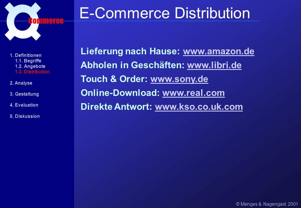 Lieferung nach Hause: www.amazon.dewww.amazon.de © Menges & Nagengast, 2001 E-Commerce Distribution Commerce Online-Download: www.real.comwww.real.com Touch & Order: www.sony.dewww.sony.de Abholen in Geschäften: www.libri.dewww.libri.de 1.