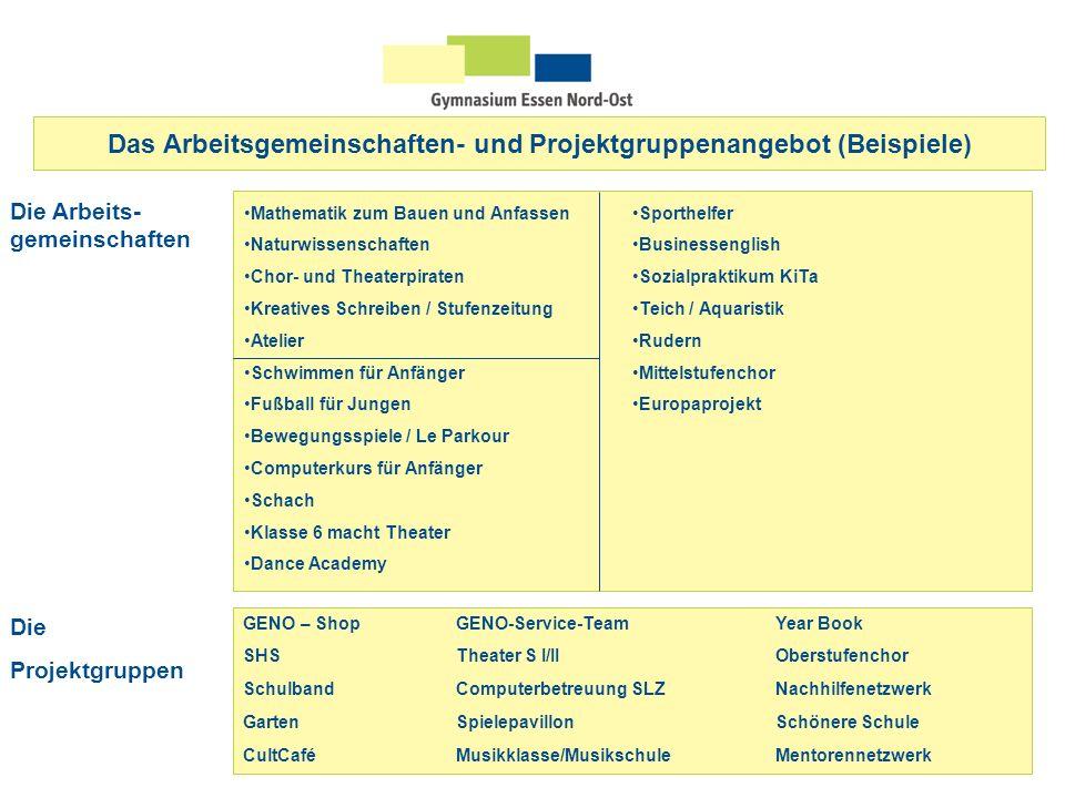 Das Arbeitsgemeinschaften- und Projektgruppenangebot (Beispiele) Die Arbeits- gemeinschaften GENO – ShopGENO-Service-TeamYear Book SHSTheater S I/II O
