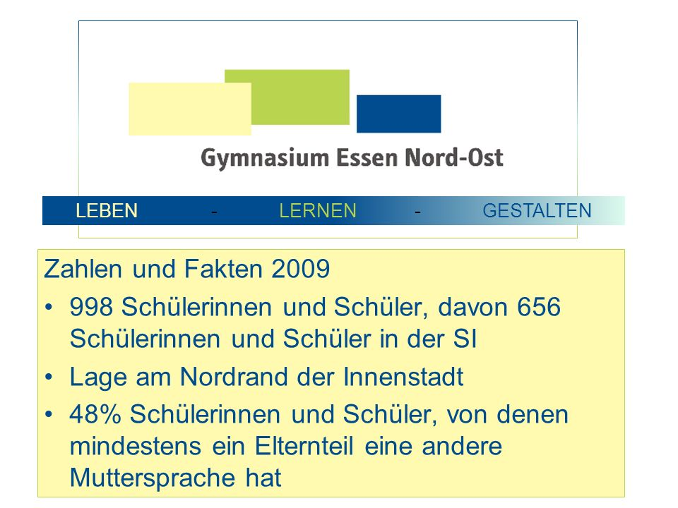 Zahlen und Fakten 2009 998 Schülerinnen und Schüler, davon 656 Schülerinnen und Schüler in der SI Lage am Nordrand der Innenstadt 48% Schülerinnen und