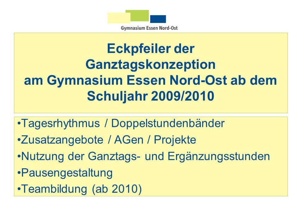 Eckpfeiler der Ganztagskonzeption am Gymnasium Essen Nord-Ost ab dem Schuljahr 2009/2010 Tagesrhythmus / Doppelstundenbänder Zusatzangebote / AGen / P