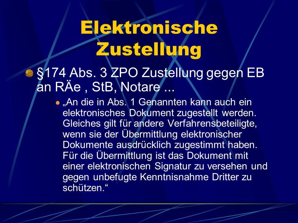 Elektronische Klageein- reichung und Zustellung bedarf der Schaffung einer gesetzlichen Grundlage § 126 a BGB Schriftformerfordernis Soll die gesetzli