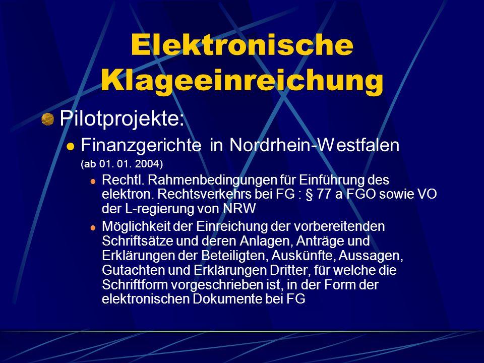 Elektronische Zustellung §174 Abs. 3 ZPO Zustellung gegen EB an RÄe, StB, Notare... An die in Abs. 1 Genannten kann auch ein elektronisches Dokument z