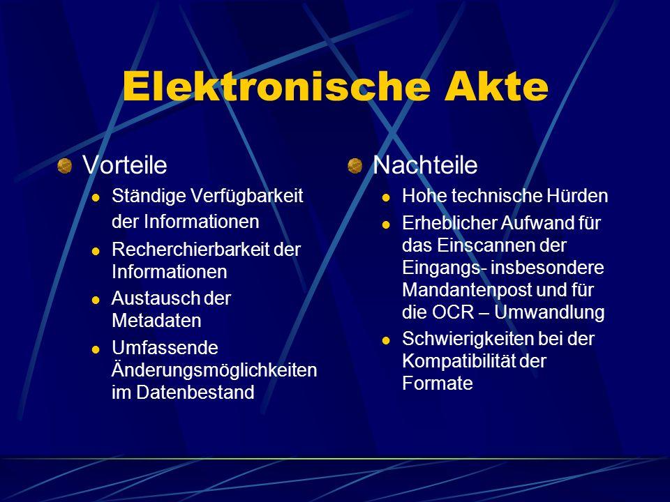 Elektronische Akte Interaktives System, das die Mandats- bearbeitung einschließlich der Kommunikation mit dem Mandanten ausschließlich auf elektronisc