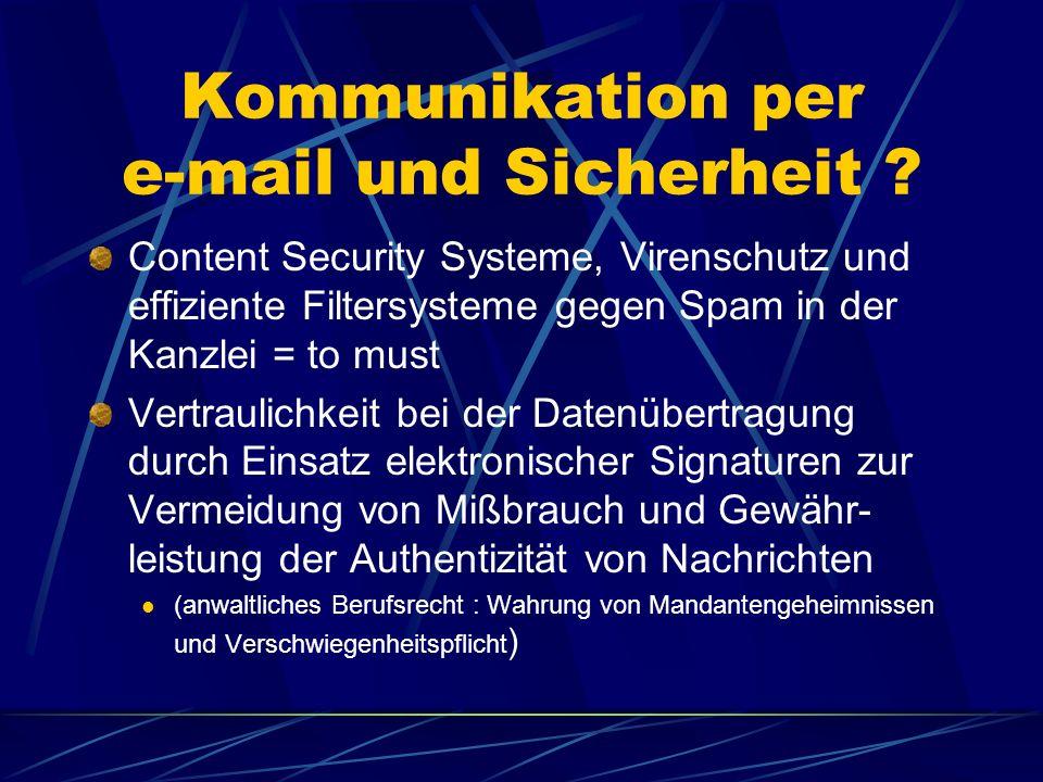 Finanzgerichte NRW § 77 a FGO: elektronische Dokumente sollen qualifiziert signiert werden Grund: Überprüfung der Authentizität und Integrität des Dokuments Besondere Software (GERWA) und Signaturkarte (Smartcard – DATEV eG) Derzeit nur Übertragung per e-mail Verschlüsselungszertifikat des jew.