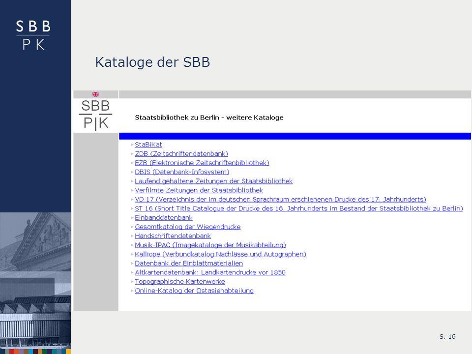 Kataloge der SBB S. 16