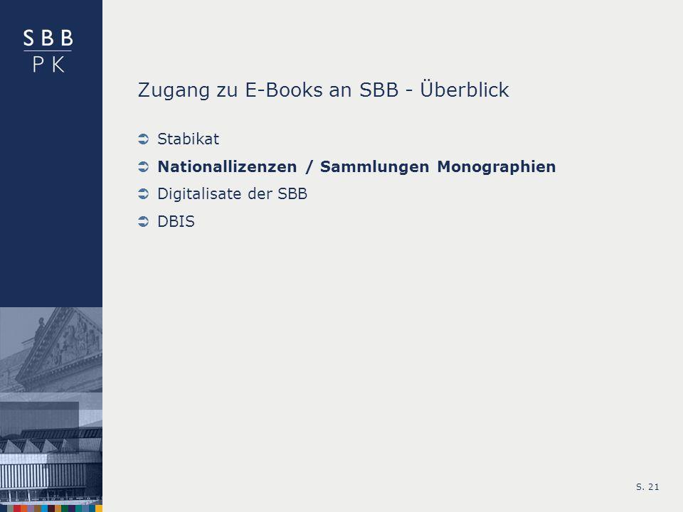 S. 21 Zugang zu E-Books an SBB - Überblick Stabikat Nationallizenzen / Sammlungen Monographien Digitalisate der SBB DBIS