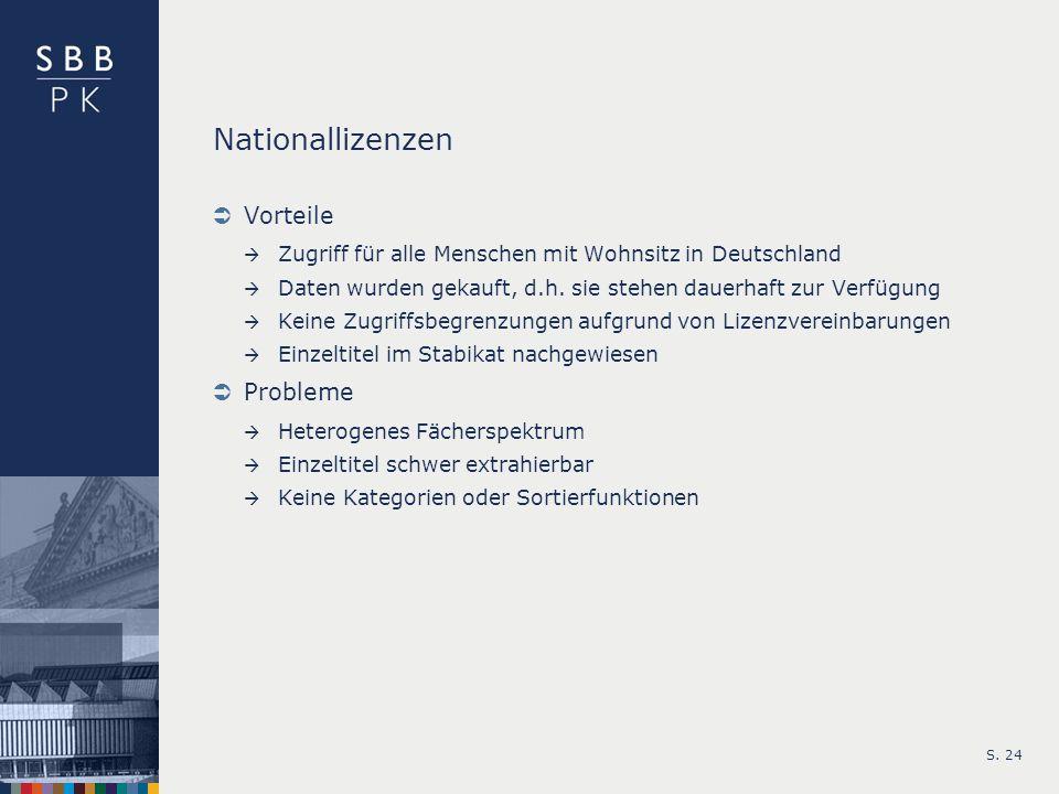 S. 24 Nationallizenzen Vorteile Zugriff für alle Menschen mit Wohnsitz in Deutschland Daten wurden gekauft, d.h. sie stehen dauerhaft zur Verfügung Ke