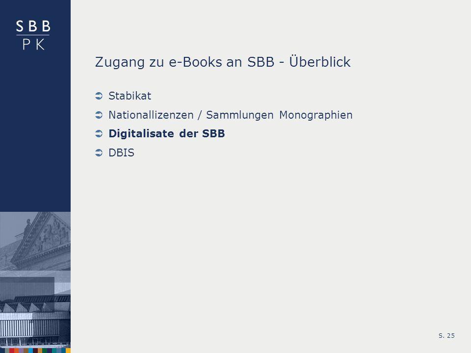 S. 25 Zugang zu e-Books an SBB - Überblick Stabikat Nationallizenzen / Sammlungen Monographien Digitalisate der SBB DBIS