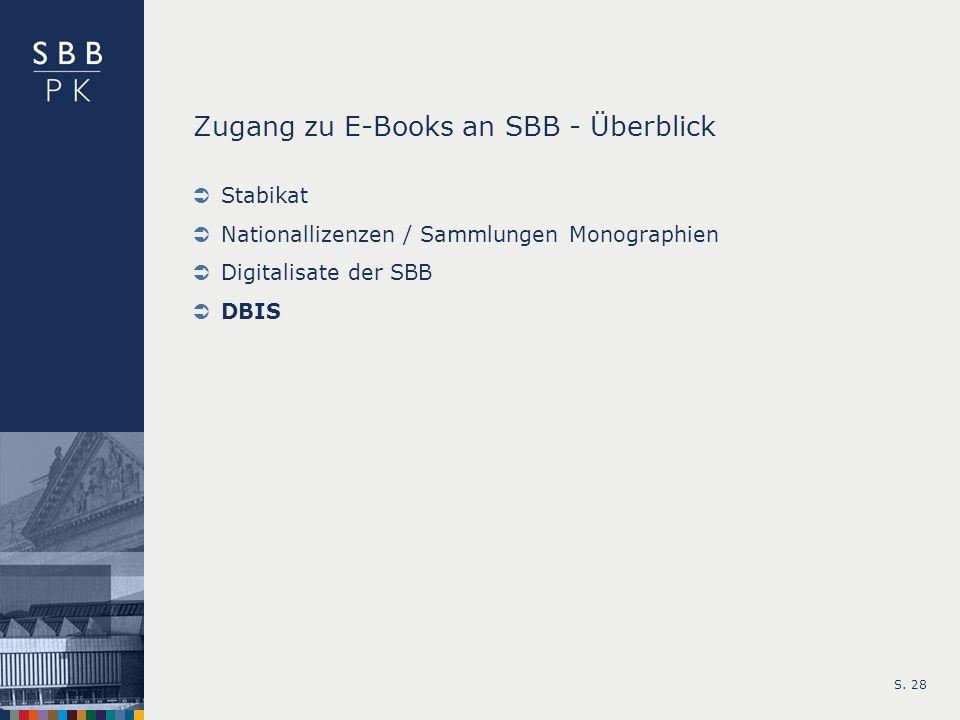 S. 28 Zugang zu E-Books an SBB - Überblick Stabikat Nationallizenzen / Sammlungen Monographien Digitalisate der SBB DBIS