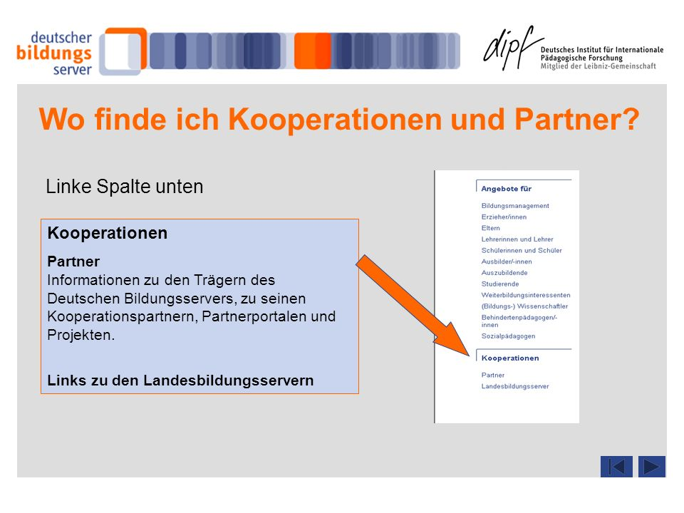 Wo finde ich Kooperationen und Partner? Linke Spalte unten Kooperationen Partner Informationen zu den Trägern des Deutschen Bildungsservers, zu seinen