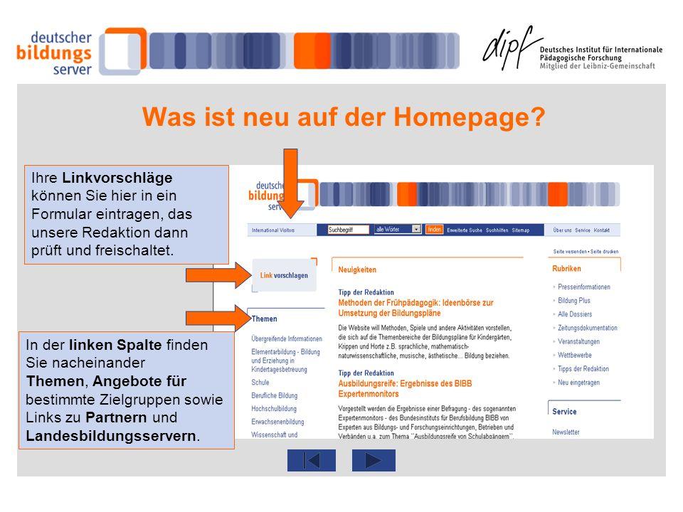 Was ist neu auf der Homepage? In der linken Spalte finden Sie nacheinander Themen, Angebote für bestimmte Zielgruppen sowie Links zu Partnern und Land