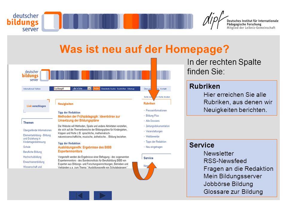 Was ist neu auf der Homepage? Rubriken Hier erreichen Sie alle Rubriken, aus denen wir Neuigkeiten berichten. Service Newsletter RSS-Newsfeed Fragen a