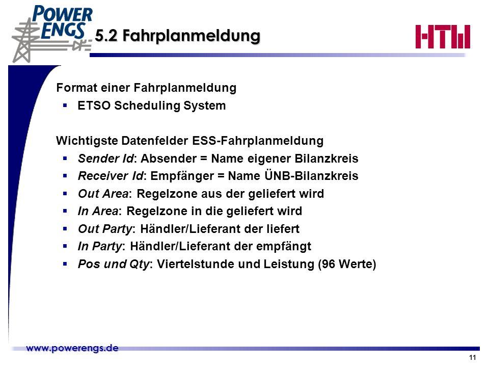 www.powerengs.de www.powerengs.de 11 5.2 Fahrplanmeldung Format einer Fahrplanmeldung ETSO Scheduling System Wichtigste Datenfelder ESS-Fahrplanmeldun