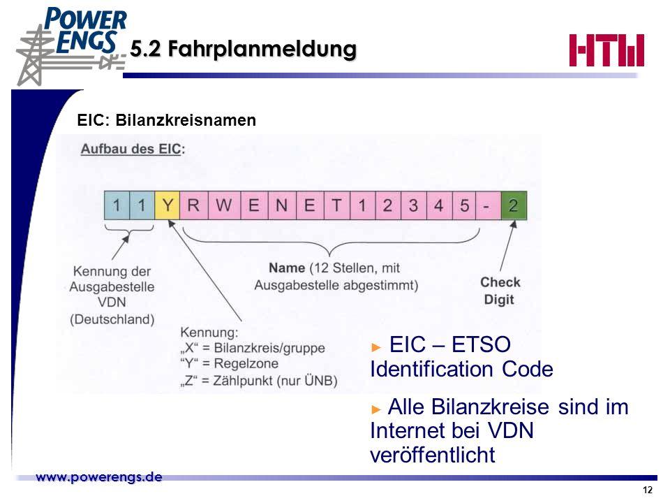 www.powerengs.de www.powerengs.de 12 5.2 Fahrplanmeldung EIC: Bilanzkreisnamen EIC – ETSO Identification Code Alle Bilanzkreise sind im Internet bei V