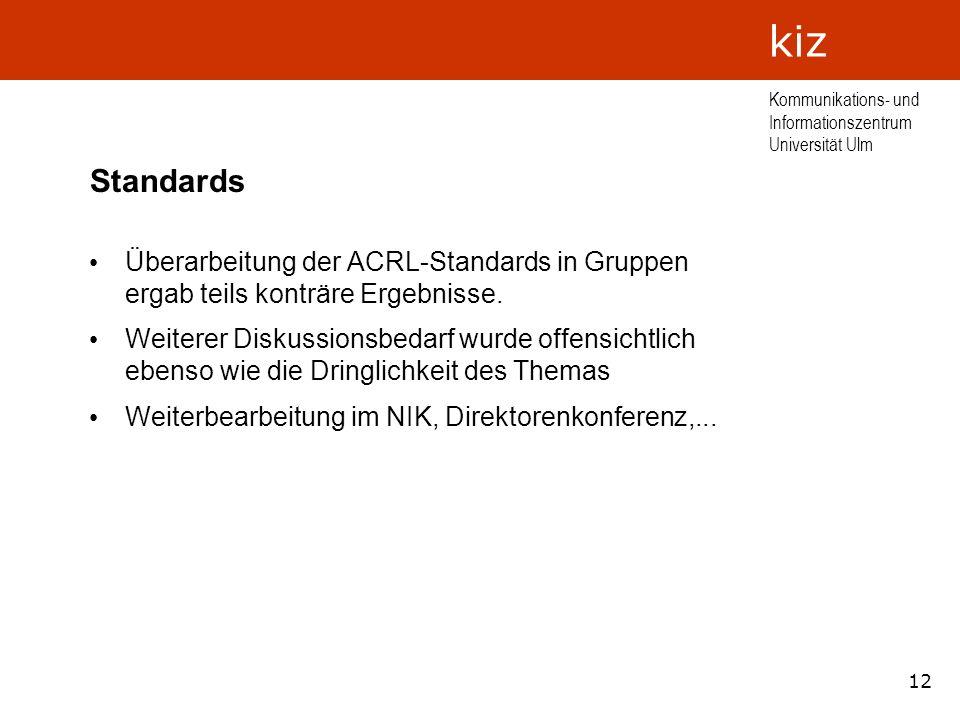 12 Kommunikations- und Informationszentrum Universität Ulm kiz Standards Überarbeitung der ACRL-Standards in Gruppen ergab teils konträre Ergebnisse.