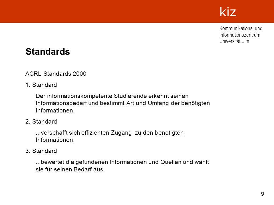 9 Kommunikations- und Informationszentrum Universität Ulm kiz Standards ACRL Standards 2000 1. Standard Der informationskompetente Studierende erkennt