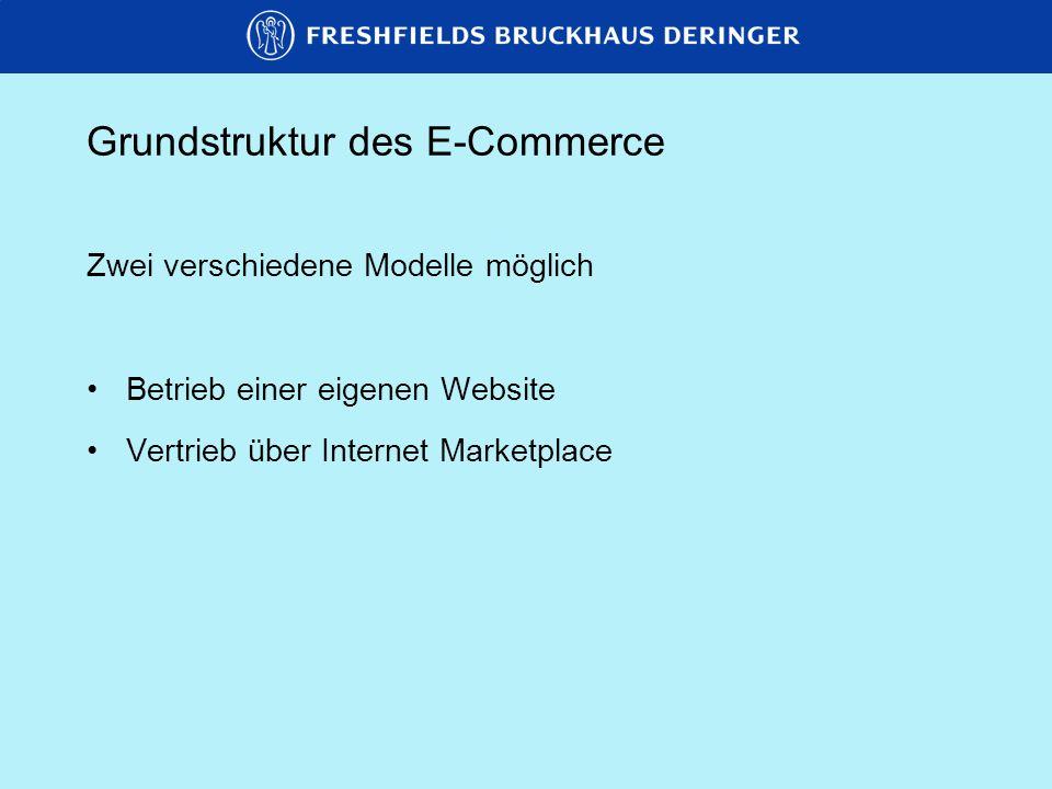 Grundstruktur des E-Commerce AnbieterAnbieterAnbieter Internet Marketplace (von Gemeinschaftsunternehmen oder Start-up betrieben) NachfragerNachfragerNachfrager