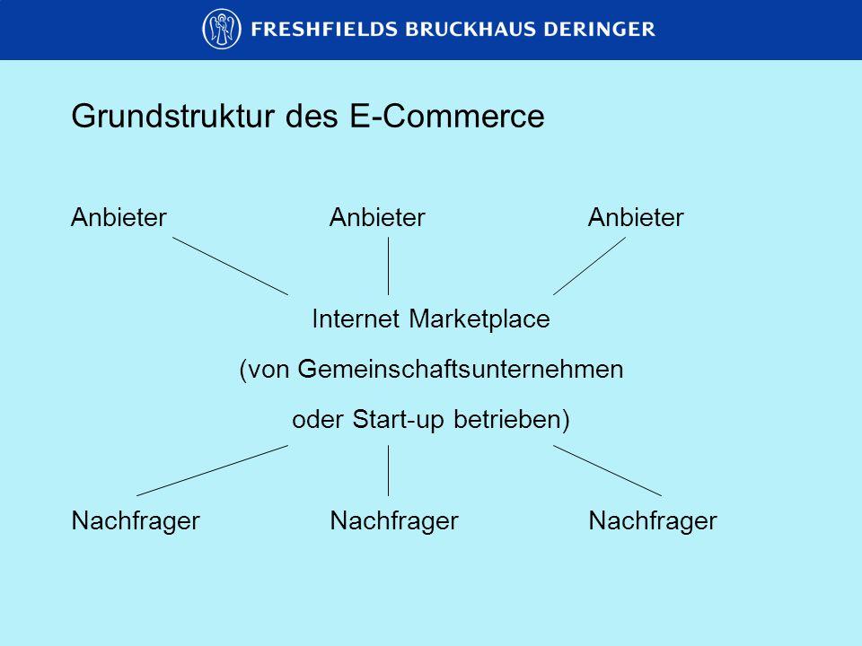 Grundstruktur des E-Commerce Innerhalb dieser Modelle sind mindestens zwei verschiedene E-Commerce-Konzepte möglich: Katalogmodell => Anbieter hinterlegt auf eigener Website oder abrufbar über Internet Marketplace Katalog, Nachfrager sucht aus Auktionsmodell (insbesondere bei Internet Marketplace als Einkaufsplattform) => Käufer/Verkäufer schreiben Bedarf/ Angebot aus und fordern potentielle Vertragspartner zu Kontaktaufnahme auf (insbesondere für Standardprodukte oder Rohstoffe)