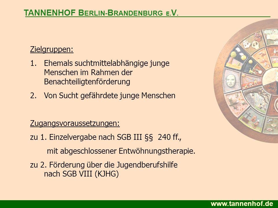 www.tannenhof.de Zielgruppen: 1.Ehemals suchtmittelabhängige junge Menschen im Rahmen der Benachteiligtenförderung 2.Von Sucht gefährdete junge Mensch