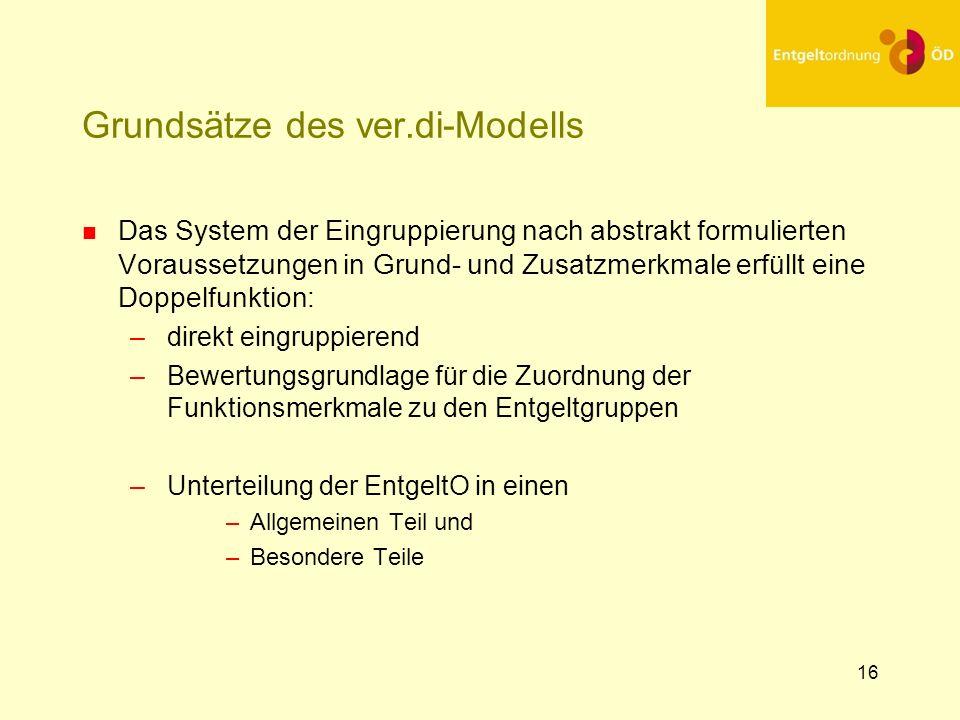 16 Grundsätze des ver.di-Modells n Das System der Eingruppierung nach abstrakt formulierten Voraussetzungen in Grund- und Zusatzmerkmale erfüllt eine