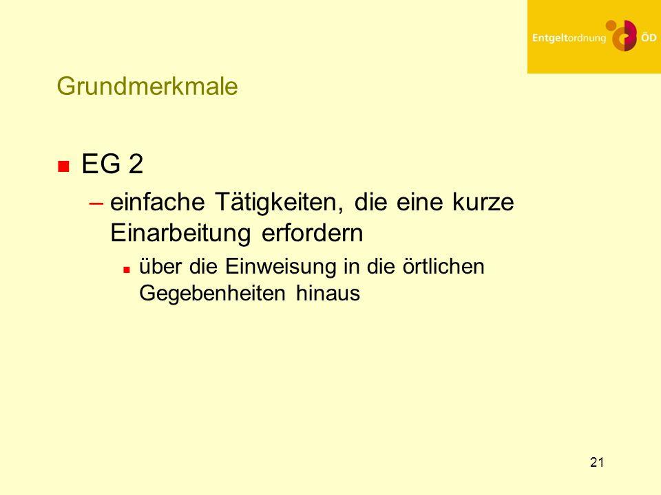 21 Grundmerkmale n EG 2 –einfache Tätigkeiten, die eine kurze Einarbeitung erfordern n über die Einweisung in die örtlichen Gegebenheiten hinaus