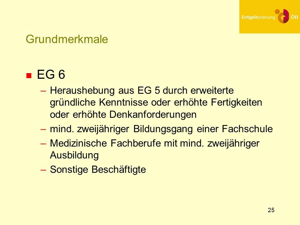 25 Grundmerkmale n EG 6 –Heraushebung aus EG 5 durch erweiterte gründliche Kenntnisse oder erhöhte Fertigkeiten oder erhöhte Denkanforderungen –mind.