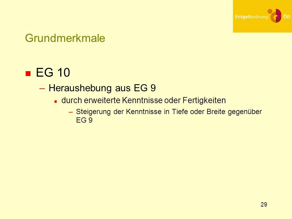 30 Grundmerkmale n EG 11 –Heraushebung aus EG 9 n durch vielseitige erweiterte Kenntnisse oder Fertigkeiten –Steigerung der Kenntnisse in Tiefe und Breite gegenüber EG 9