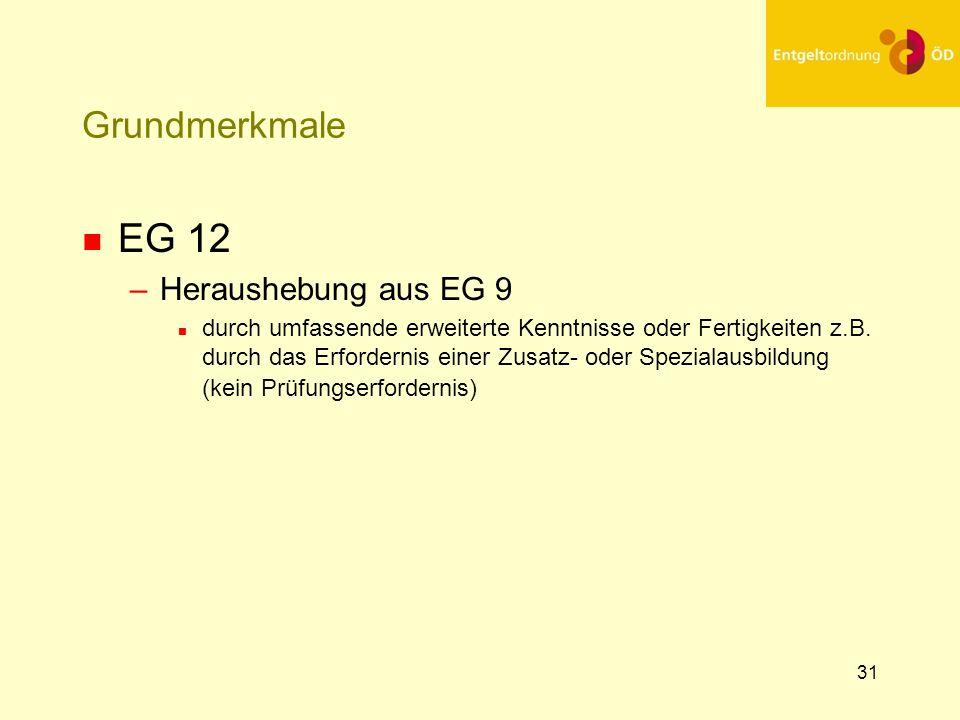 31 Grundmerkmale n EG 12 –Heraushebung aus EG 9 n durch umfassende erweiterte Kenntnisse oder Fertigkeiten z.B. durch das Erfordernis einer Zusatz- od
