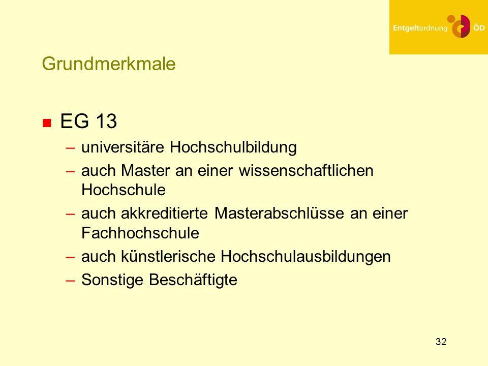 33 Grundmerkmale n EG 14 –Heraushebung aus EG 13 n durch erweiterte Kenntnisse oder Fertigkeiten –Steigerung der Kenntnisse in Tiefe oder Breite